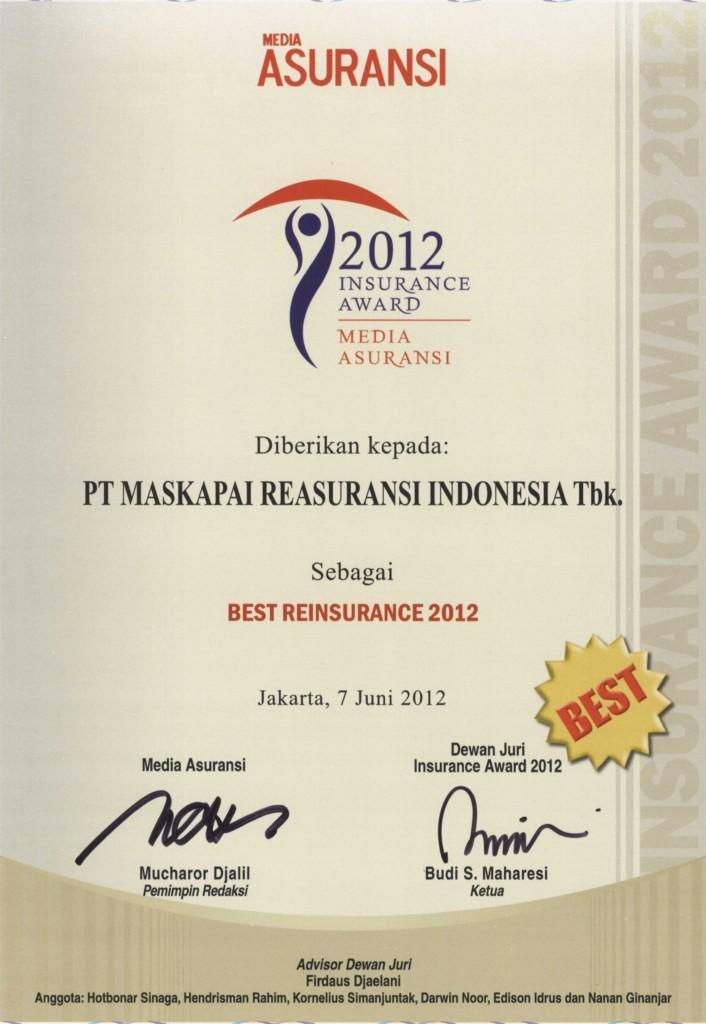 Majalah Media Asuransi : Best Reinsurance 2012