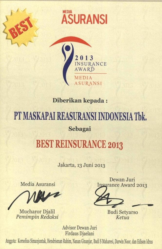 Majalah Media Asuransi : Best Reinsurance 2013