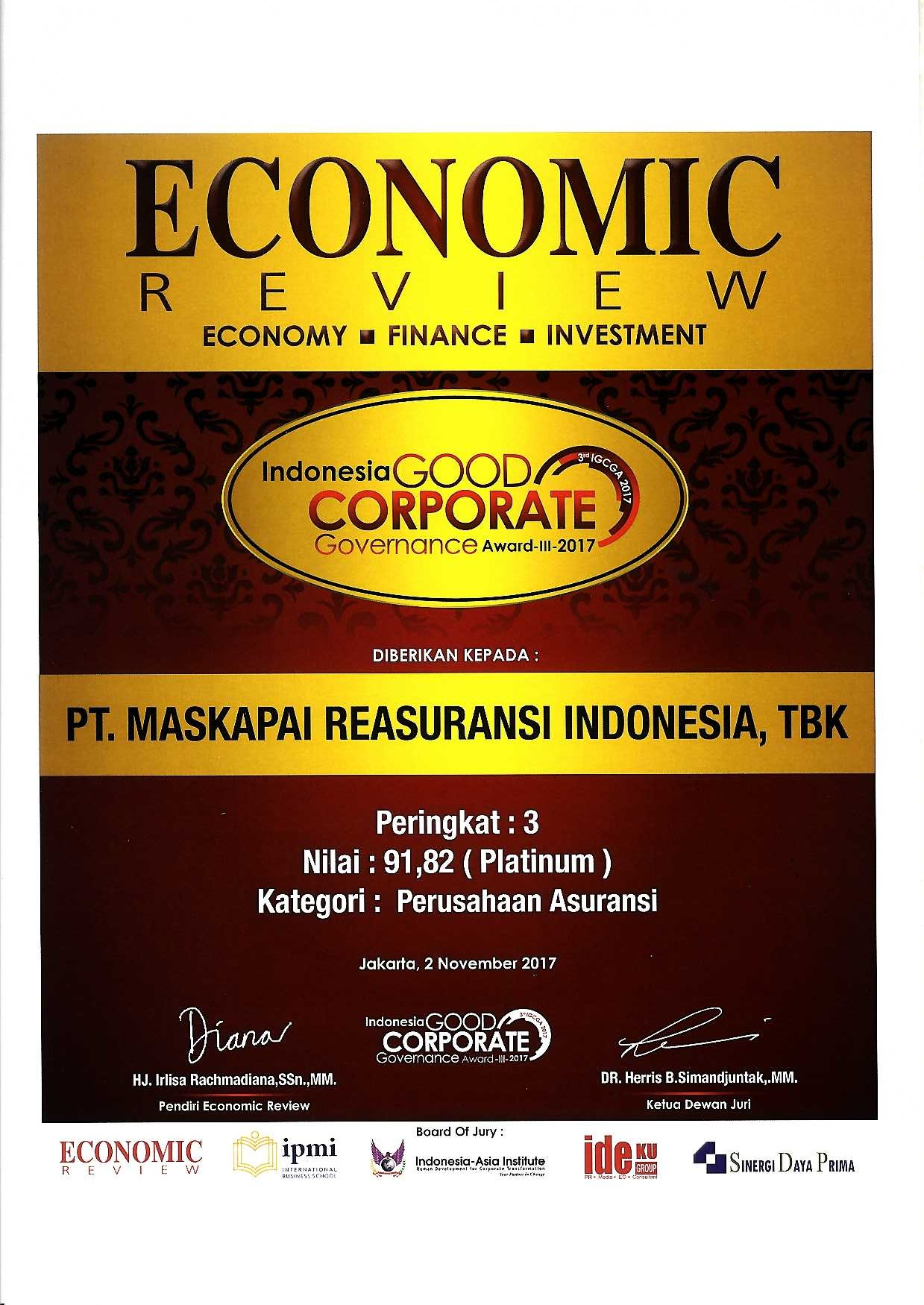 Majalah Economic Review : 3rd Rank Good Corporate Governance Award Insurance Company Category