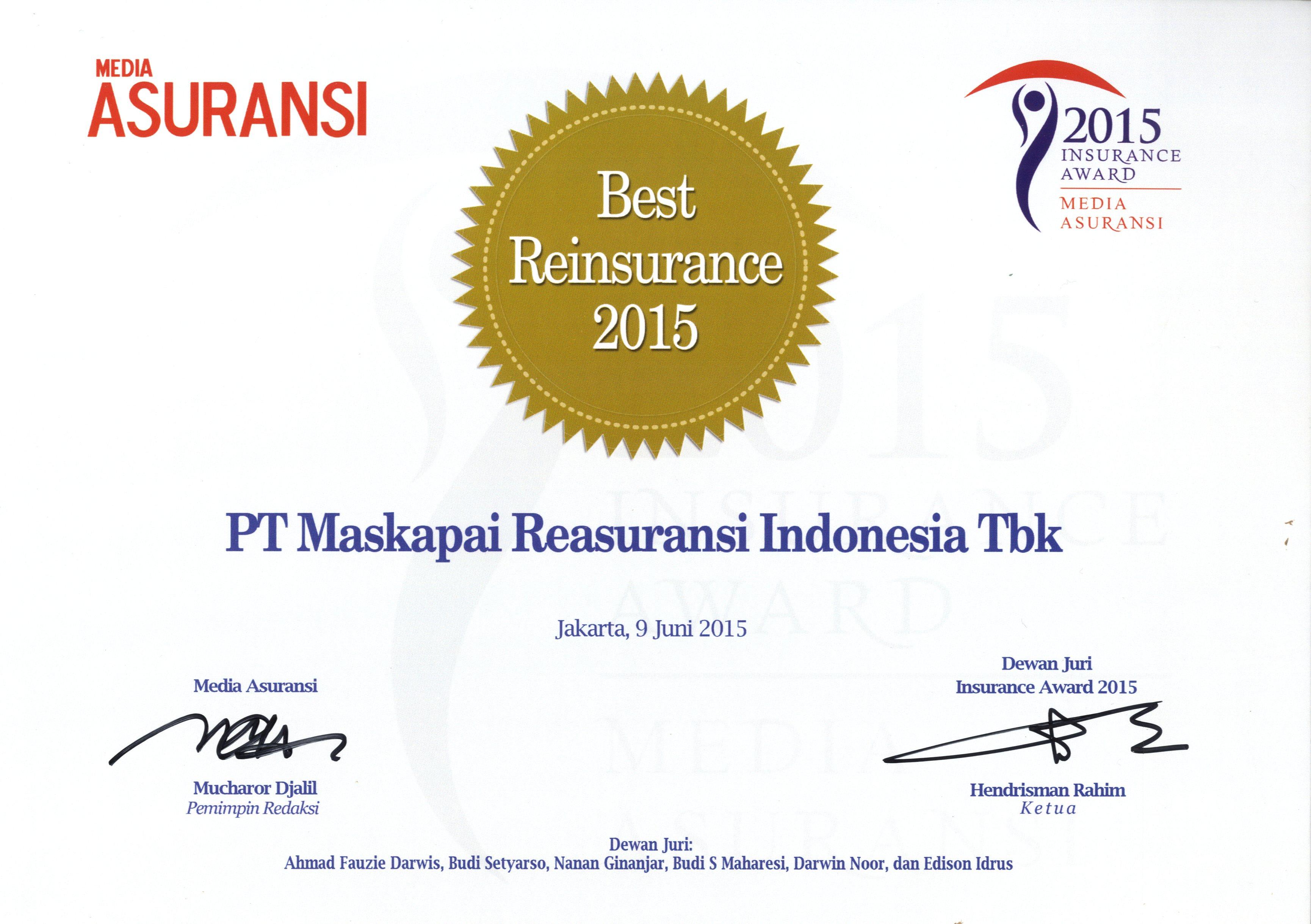 Majalah Media Asuransi : Best Reinsurance 2015