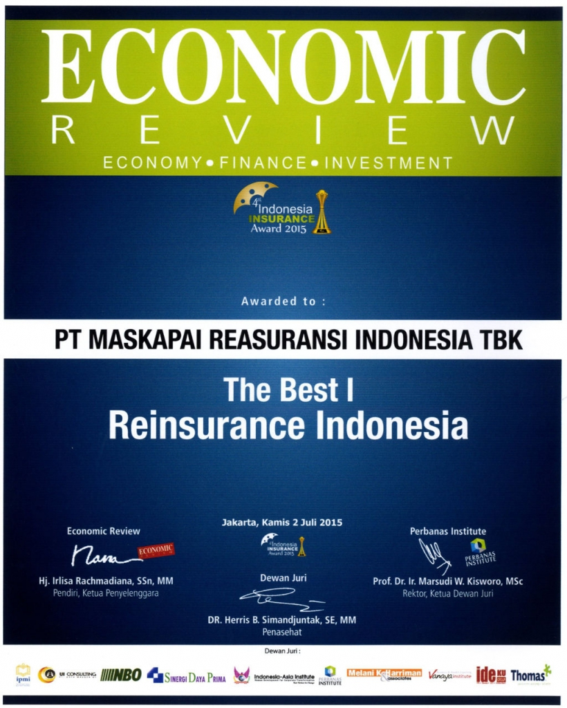 Majalah Economic Review : The Best I Reasuransi Indonesia 2015