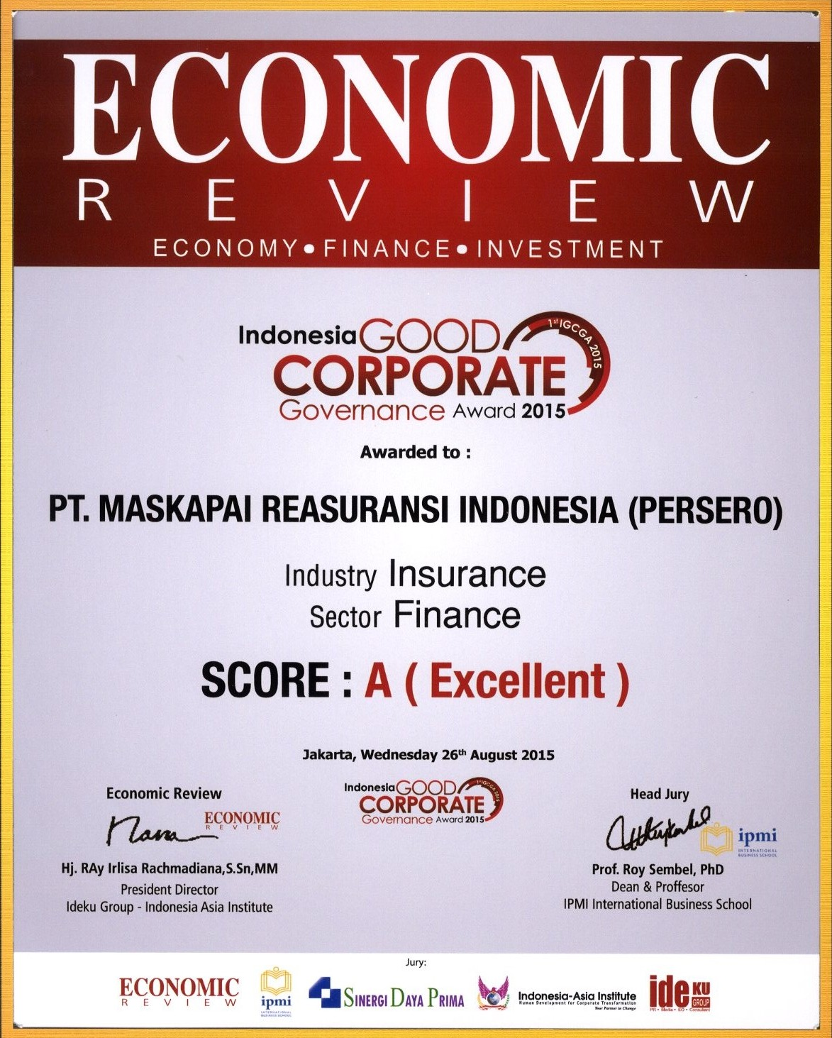 Majalah Economic Review : Outstanding Performance for  Good Corporate Governance Award 2015
