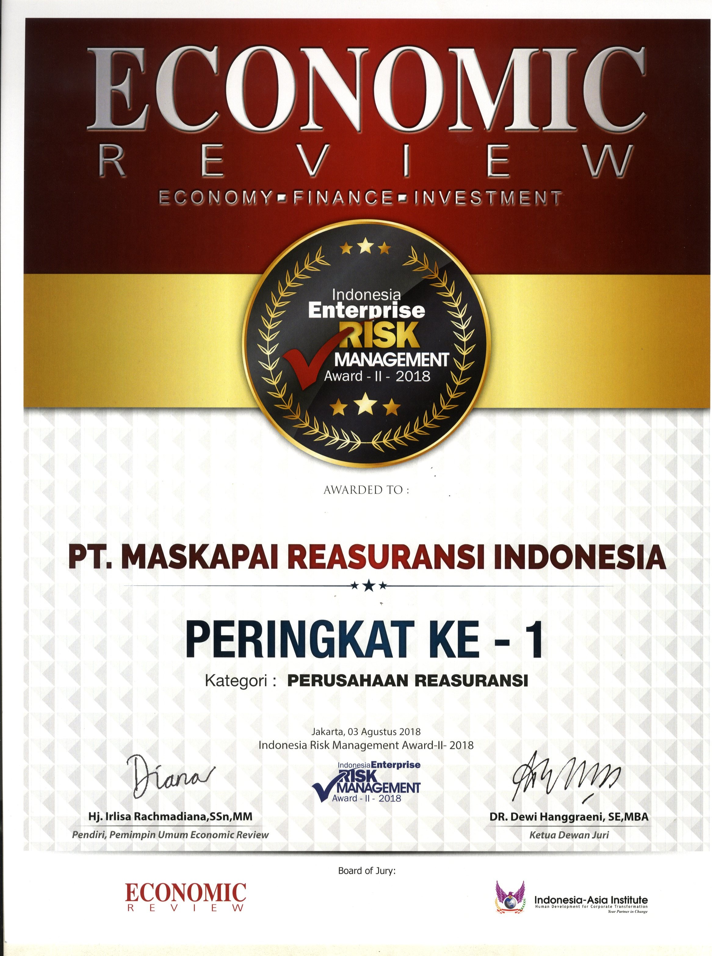 Majalah Economic Review : Peringkat I Kategori Reasuransi Enterprise Risk Management Award II 2018