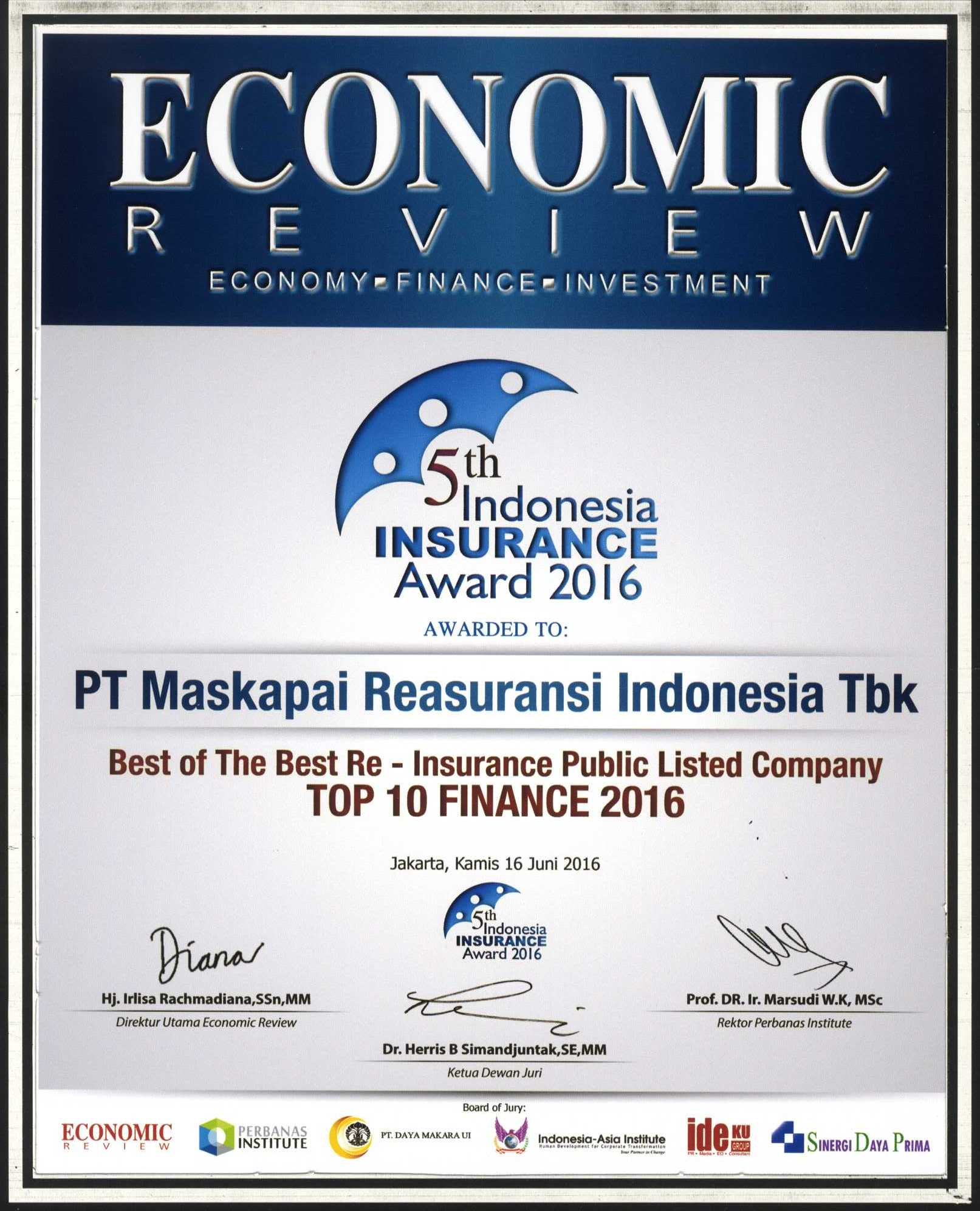 Majalah Economic Review : Top 10 Finance 2016 - 5th Indonesia Insurance Award 2016