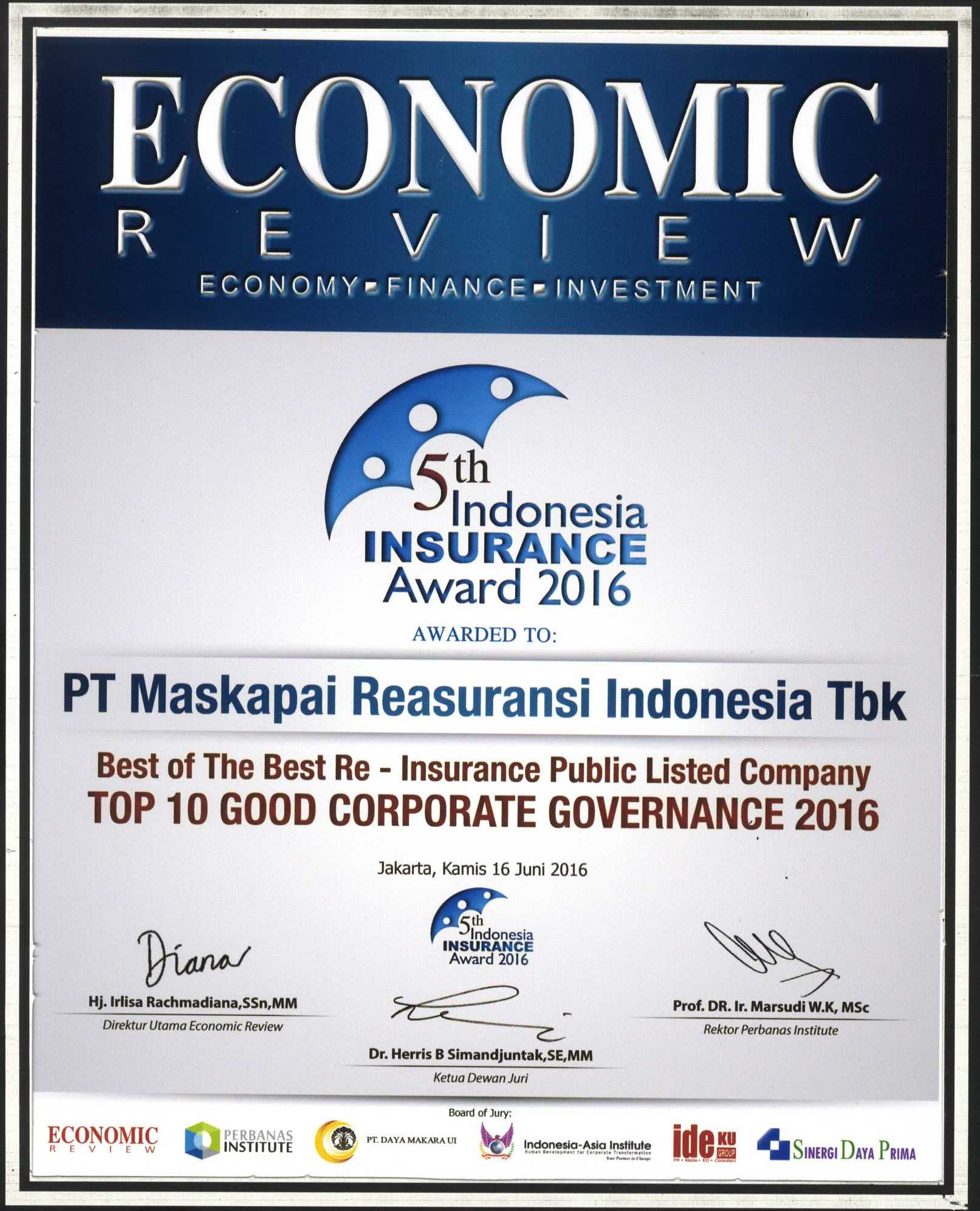 Majalah Economic Review : Top 10 Good Corporate Governance 2016 - 5th Indonesia Insurance Awad 2016