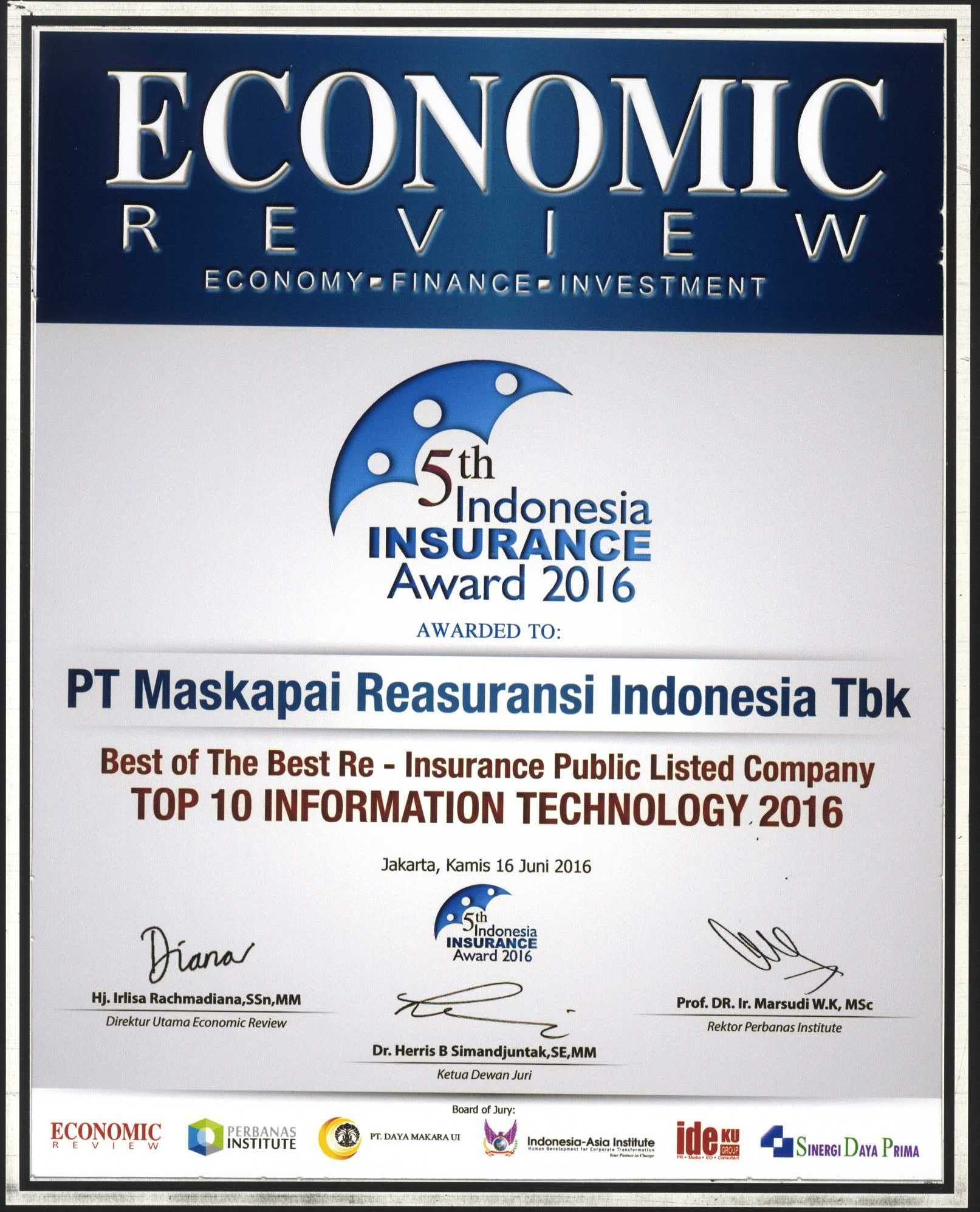 Majalah Economic Review : Top 10 Information Technology 2016 - 5th Indonesia Insurance Award 2016