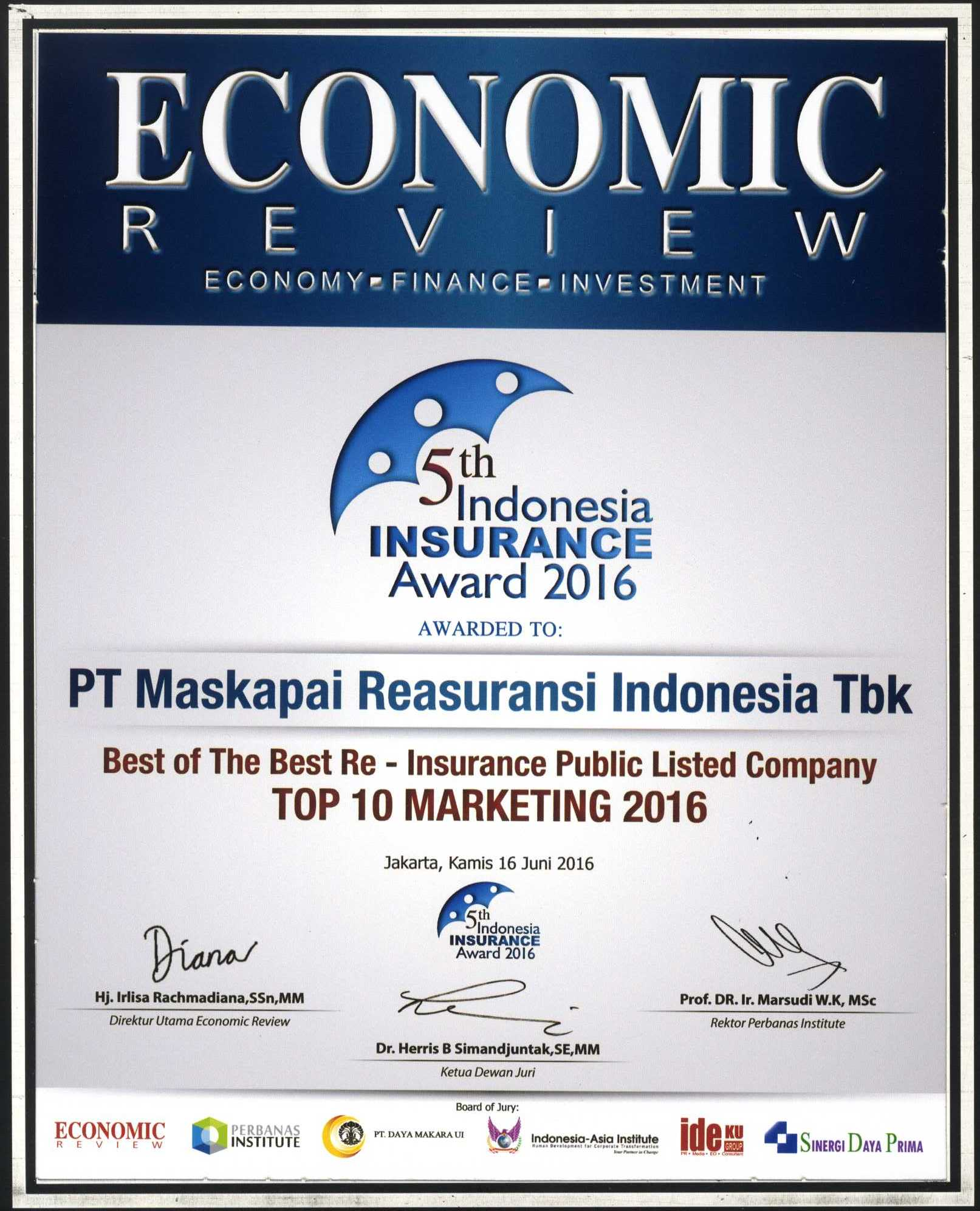 Majalah Economic Review : Top 10 Marketing 2016 - 5th Indonesia Insurance Award 2016
