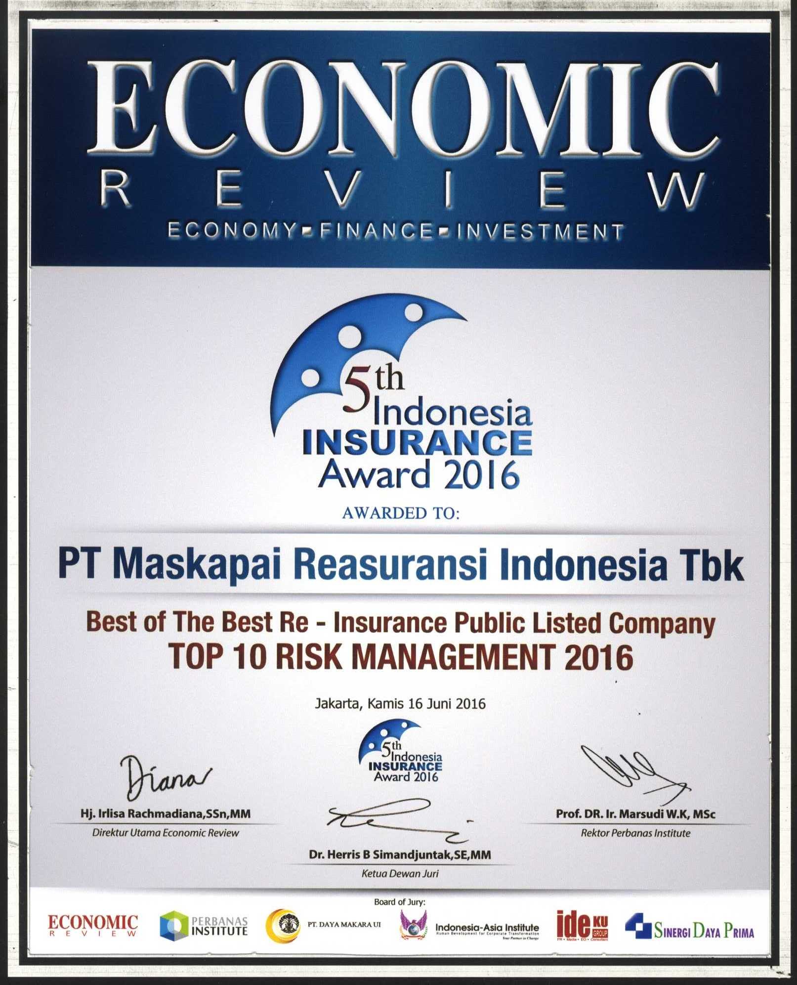Majalah Economic Review : Top 10 Risk Management 2016 - 5th Indonesia Insurance Award 2016