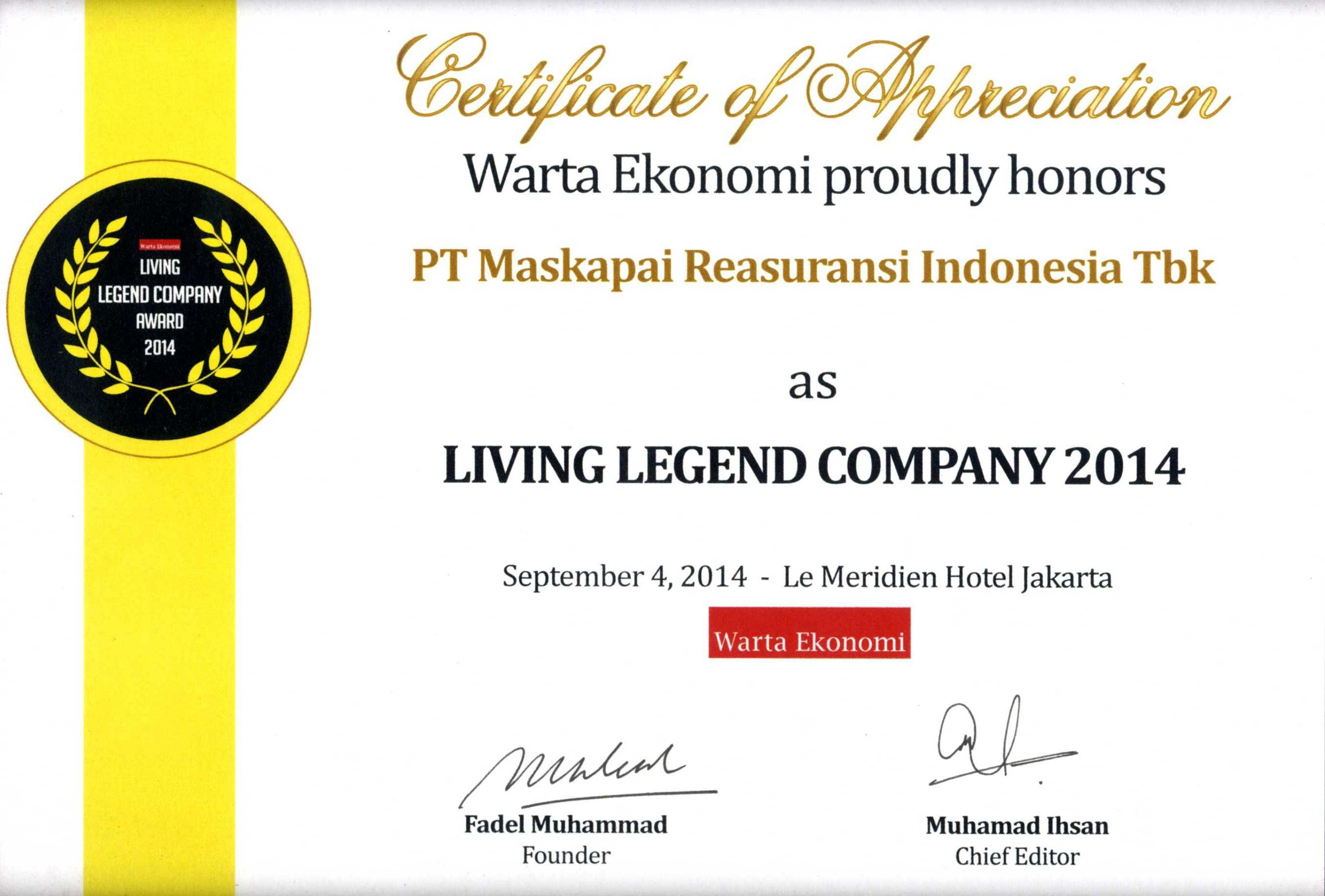 Majalah Warta Ekonomi : Living Legend Company 2014