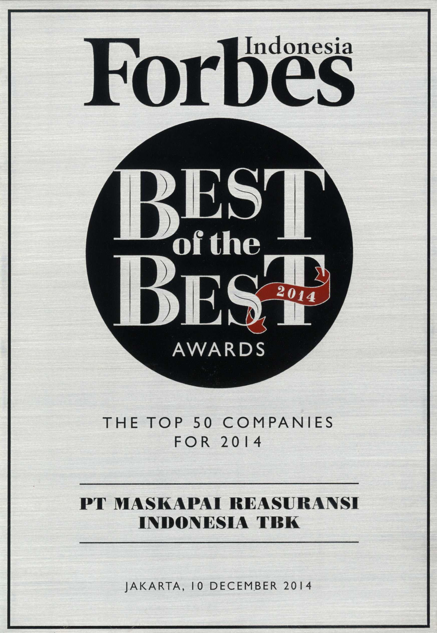 Majalah Forbes Indonesia : The Top 50 Companies Best of The Best Awards 2014