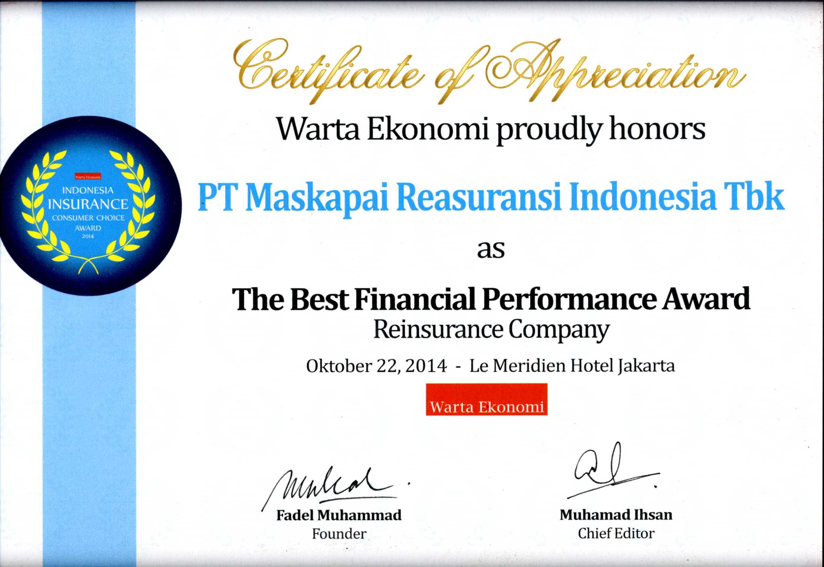 Majalah Warta Ekonomi : The Best Reinsurance Company 2014 Financial Performance Award