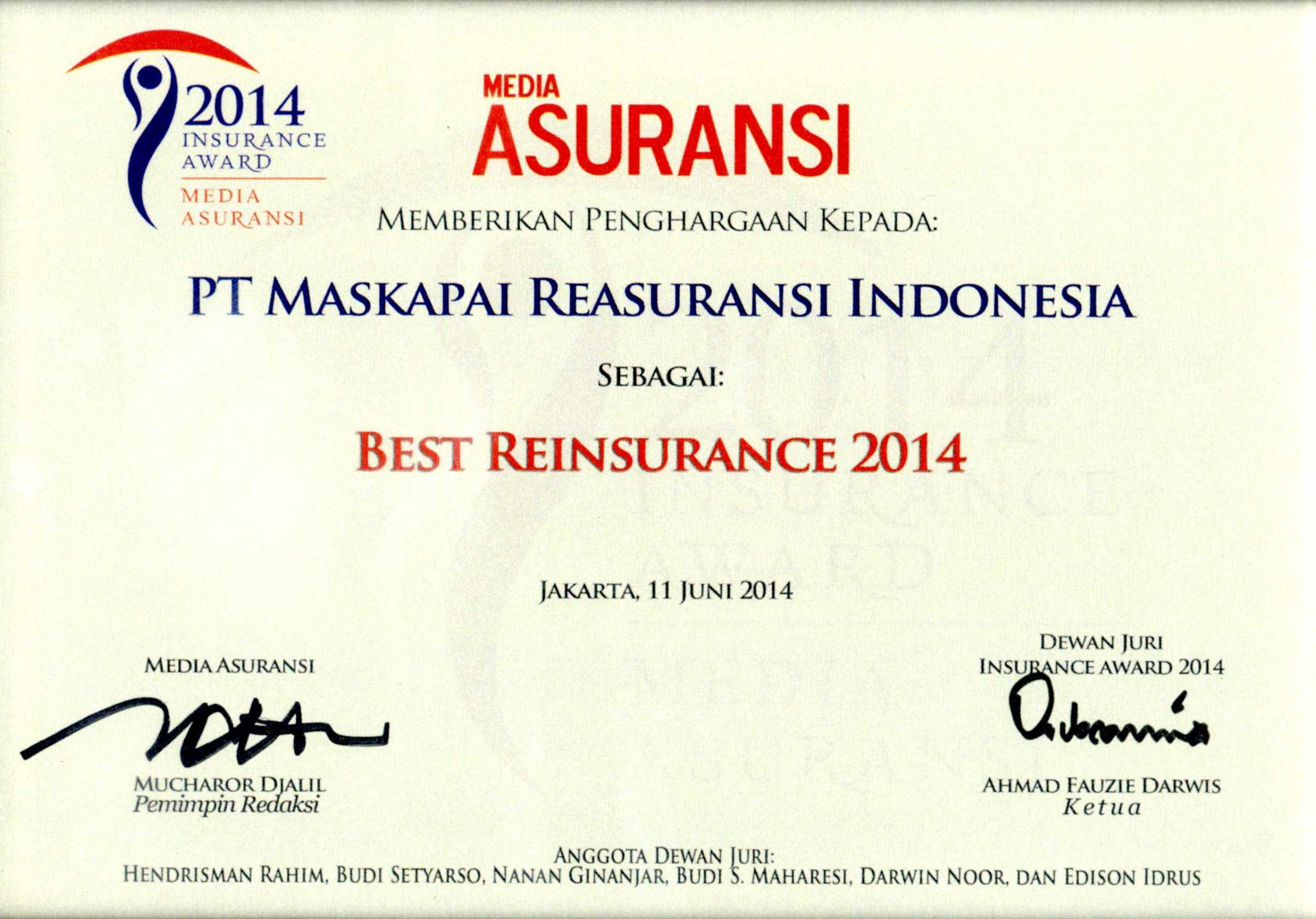 Majalah Media Asuransi : Best Reinsurance 2014
