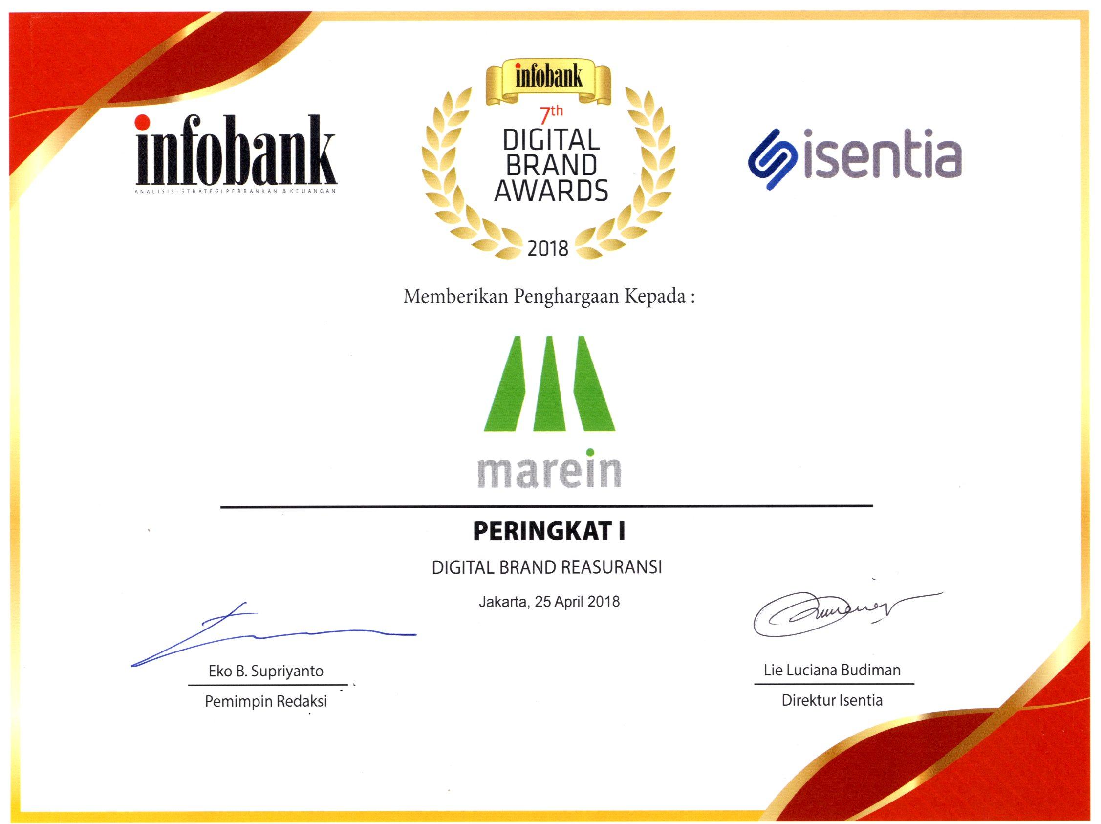 Majalah Infobank : Peringkat I Digital Brand Reasuransi