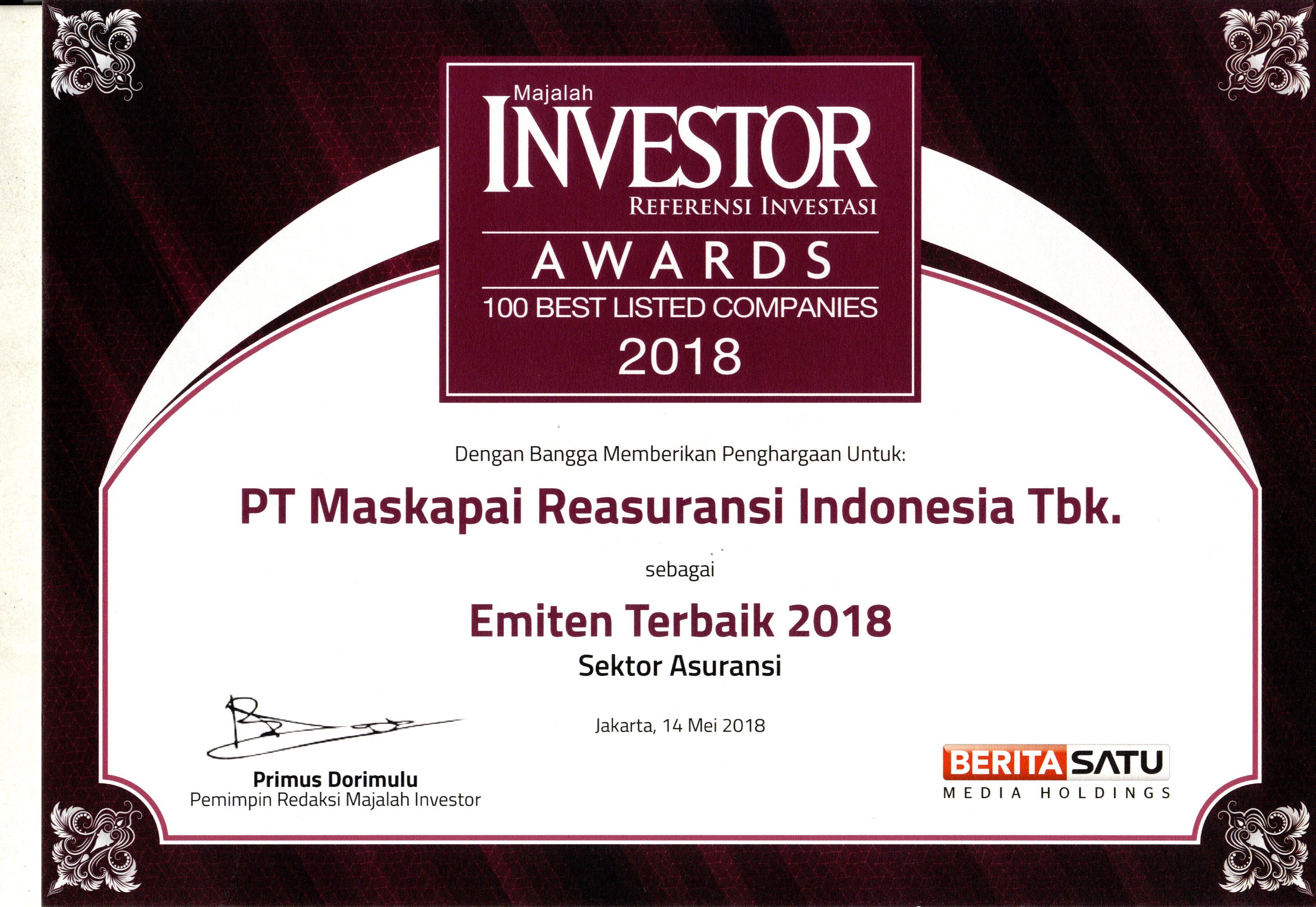 Majalah Investor : Emiten Terbaik 2018 Sektor Asuransi