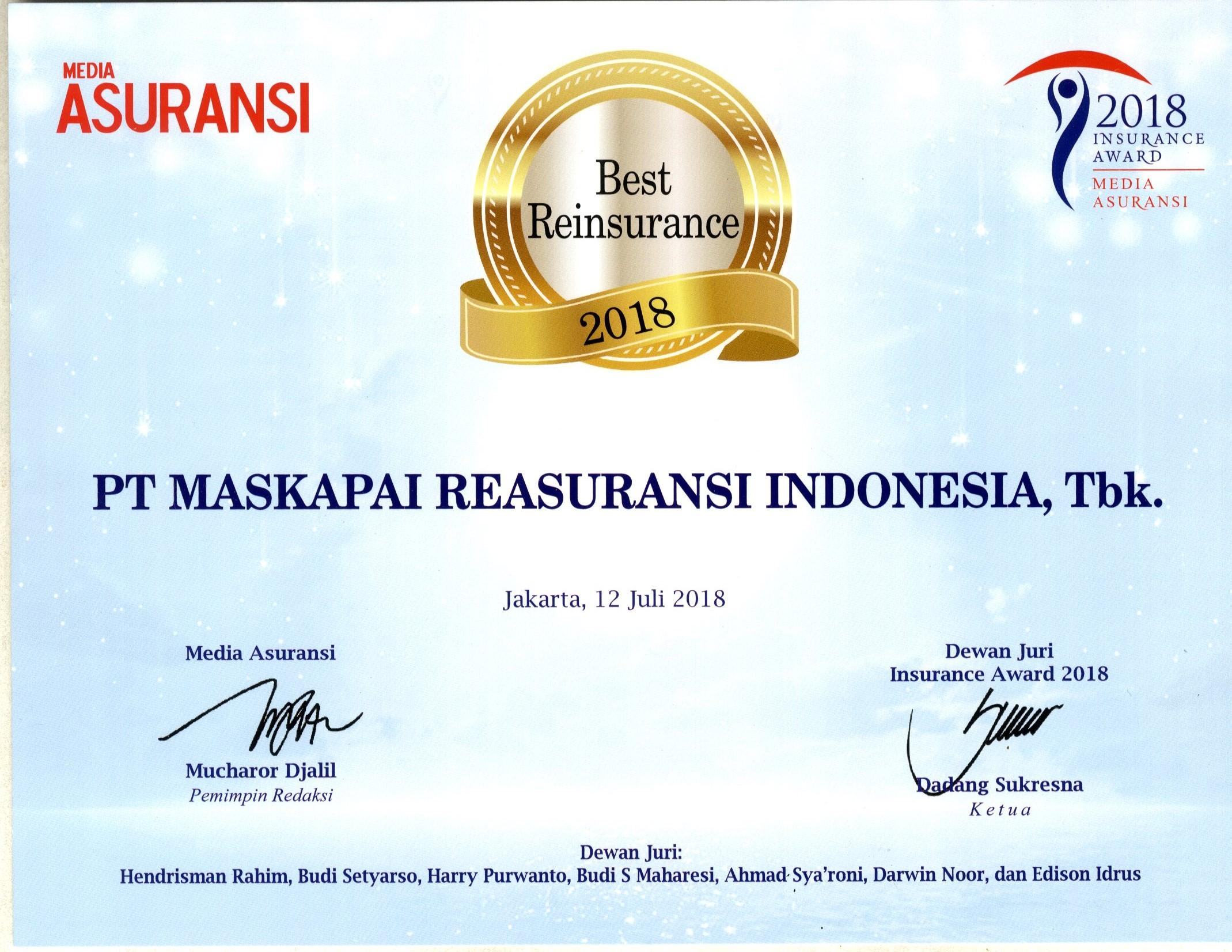 Majalah Media Asuransi : Best Reinsurance 2018