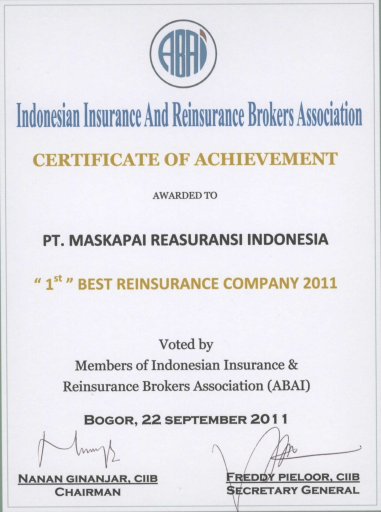 APPARINDO : The 1st Best Reinsurance Company 2011
